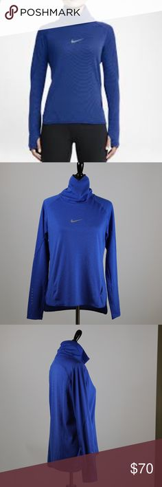 Nike AeroReact Women's Long-Sleeve Running Top Breathable fabric that reacts to your sweat to help you maintain optimal temperature throughout your run,uses fibres that open to increase airflow, range of motion so you can move freely Thumbholes at the cuffs help keep the sleeves in place and provide warmth Cowl-neck design and dropped back hem for warmth and extra coverage Small hip pocket provides convenient storage Reflective elements enhance visibility in low light Fabric:Dri-FIT…