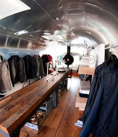 French designer Thierry Gaugain recently reimagined an Airstream as a mobile shop for clothing company Aether.