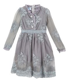 Another great find on #zulily! Just Couture Gray Sheer Lace Button-Front Dress - Toddler & Girls by Just Couture #zulilyfinds