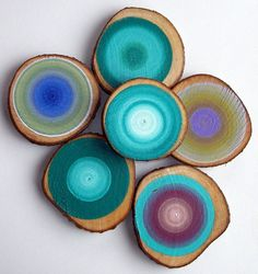 Painted Tree Rings Set of 6 CUSTOM Listing by HeatherMontgomeryArt, $99.00