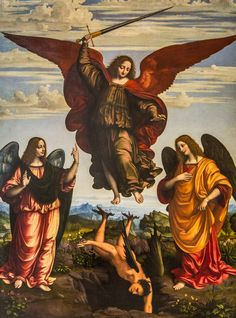 OGGIONO Marco d The Three Archangels St Michael St Raphael and St Gabriel vanquishing Satan - Oil on panel 255 x 190 cm Pinacoteca di Brera Mil Saint Michael, St. Michael, Michael Gabriel, Catholic Prayers, Catholic Art, Catholic News, Catholic Saints, Roman Catholic, Angels Among Us