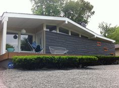 mid century landscaping by Atomic Indy, via Flickr  I like the shrubs... too much gravel though