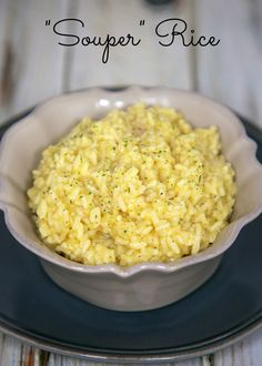 Souper Rice - quick creamy cheater risotto recipe made with minute rice, cream of chicken soup, chicken broth and parmesan cheese - ready in 10 minutes.