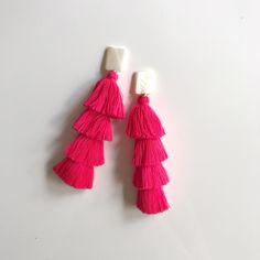 mother of pearl + pink tassel