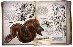 Electrophorus is a brand new creature turning up in the ARK Survival Evolved game! We have just released this new Dino dossier, so now you can check out some basic information of it! Ocean Creatures, Fantasy Creatures, Mythical Creatures, Game Ark Survival Evolved, Survival Books, Monster Book Of Monsters, The Lost World, Prehistoric Creatures, Creature Design