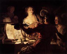 Merry Company, Oil by Gerard Van Honthorst (Gerrit Van Honthorst) (1590-1656, Netherlands)