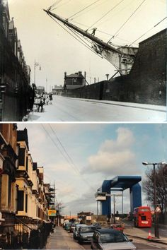 """""""Glen Terrace in 1925 and more recently. The old photo shows how Manchester Rd formerly followed the line of the terrace, crossing the swingbridge in a straight line. Not many years later a new bridge was built to replace the swingbridge, but further to the right (so that it was outside of the dock locks), causing the familiar kink in Manchester Rd."""" (via Mick Lemmerman)"""