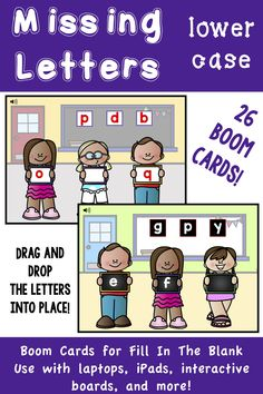 Missing Lower Case Letters - Boom Cards for Distance Learning Kindergarten Curriculum, Teaching Kindergarten, Teaching Reading, Learning, Reading Stations, Literacy Stations, Literacy Centers, Teaching Sight Words, Teaching Phonics