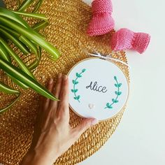 Straw Bag, Alice, Words, Embroidery
