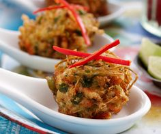 Asian vegetable fritters recipe - By Woman& Day, Packed full of vegetables, these golden, crunchy Asian fritters are the perfect finger food or starter for your next dinner party - beautiful served drizzled with fresh lime juice. Dinner Party Recipes, Entree Recipes, Indian Food Recipes, Asian Recipes, Appetizer Recipes, Ethnic Recipes, Appetizers, Indian Foods, Chinese Recipes