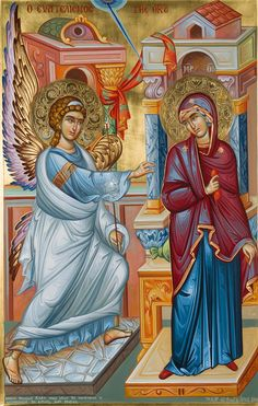 The Evangelization of the Virgin aka the Annunciation in the West. The Holy Archangel Gabriel announces to the Ever-Virgin: Rejoice, Full of Grace, the Lord is with Thee. Religious Pictures, Religious Icons, Religious Art, Archangel Gabriel, Archangel Michael, Byzantine Icons, Madonna And Child, Catholic Art, Art Icon