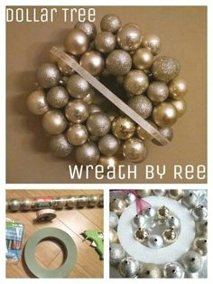 DIY Dollar Tree Christmas decoration for the home. Get several sleeves of plastic ornaments in different sizes, hot glue to a foam ring. Tie a ribbon around the front and back to hang. Designer style ornament wreath on the cheap!
