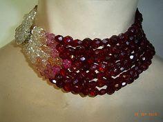 COPPOLA e TOPPO Collier Glasperlen rot rosa weiß 7reihig Italien 50er 60er Jahre | eBay
