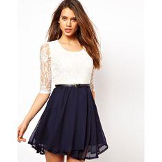 Paprika Lace Belted Skater Dress ($57) ❤ liked on Polyvore