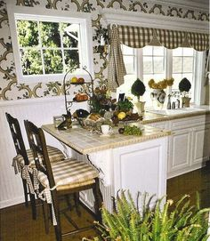 coordinados telas y cortinas para cocinas en color