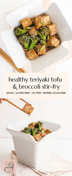 Quick and easy Teriyaki Tofu and Broccoli Stir Fry that comes together in 20 minutes or less. This delicious meatless meal is vegan, gluten free, refined sugar free, oil free and nut free. Vegan Recipes Easy, Veggie Recipes, Tufu Recipes, Lunch Recipes, Vegetarian Recipes, Recipies, Teriyaki Tofu, Vegan Comfort Food, Stir Fry