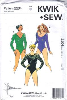 Kwik Sew 2204 Misses Bodysuit Pattern optional Snap Crotch Long Sleeves by mbchills