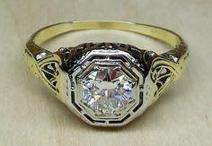 Vintage Antique .52ct Old European Cut Diamond 14k Yellow White Gold Engagement Ring Art Deco 1920 by DiamondAddiction on Etsy