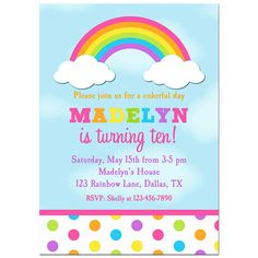 rainbow invite like the use of color in the spelling of the little