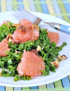 Grapefruit Kale Chiffonade Salad - a brightly colored and vibrantly flavored array of textures will satisfy all senses - sweet, savory and tart; crunchy, salty @spabettie