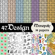 Monopoly Themed Digital Scrapbook Paper 14 by FortySevenDesign, $3.00