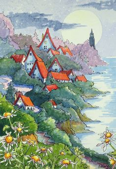 A Sleepy Village under the Moon Storybook Cottage original watercolor seascape painting vintage inspired  Alida Akers