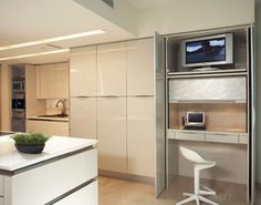 Minimalist Condo Great Room, Open-kitchen layout Remodel - modern - kitchen - miami - Korn Interior Design, Inc.