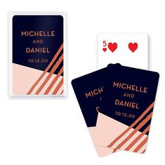 ITEM # Playing Cards Wedding FavorThese unique custom playing card favors make any card game fun! Perfect for guests at a bridal shower or wedding reception, this unique custom deck of cards is the best party favor Personalized Playing Cards, Personalized Wedding Favors, Unique Wedding Favors, Gifts For Wedding Party, Party Gifts, Wedding Ideas, Wedding Planning, Gold Playing Cards, Custom Playing Cards