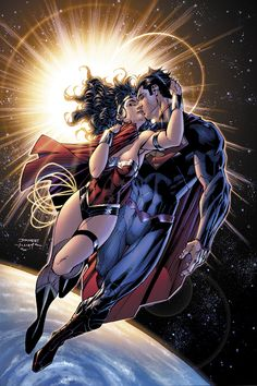 """Justice League #12"" 2nd Reprint Cover-Superman & Wonder Woman, the kiss"