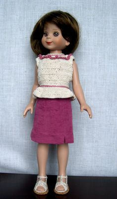 "14 inch Doll Clothes Handmade  outfit made to fit 14"" vinyl dolls such as Betsy McCall   Betsy is  modeling a micro suede shirt and a crochet top made from a modified Barbie Doll pattern Her sandals are crochet and cork  (made by Barb Marlee)"