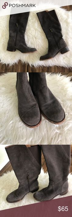 Lucky Brand boots Lucky Brand suede leather boots. Almost a brown gray but more brown. Back of calve has elastic for extra room. Some peeling on heels as pictured. Perfect for winter! Heel height 1 3/4. Lucky Brand Shoes Heeled Boots