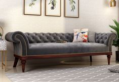 Swanson Chesterfield Sofa clearly pictures an elegant furniture design to amp up a royal look in the house. Set-back curves of the armrest, detailed legs and tufted upholstery make it the trendsetter in the house. Get Flat 33% OFF on #chesterfieldsofa #sofas #sofaset #sofasetdesign