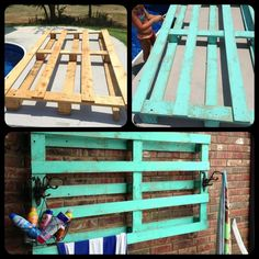 Outdoor towel rack made from a pallet!