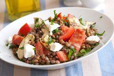 Insalata di lenticchie, pomodori e feta