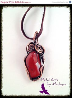 Red and Black Precious Gemstone Necklace Copper Wire Wrapped Pendant Bohemian, Hand Wrapped, , Steampunk, Industrial NIC87