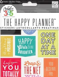 Cheery inspirational stickers to use in a weekly planner.