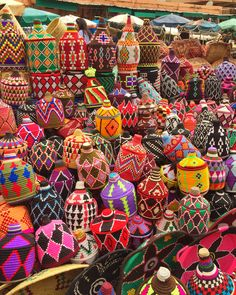 Colorful baskets at Marrakech market Morocco