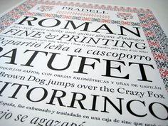 """TIPOGRAFIA de Andreu Balius, nombrada """"Pradell"""", una letra sencilla que nos recuerda a la ROMAN, propuesta para uno de los esbozos."""