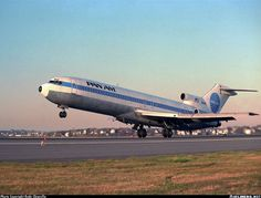 """""""Clipper Quick Step"""" - A sight I really miss. A Pan Am 727 departs into the Boston sunset."""