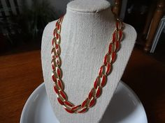 Vintage Napier Red Enamel and Gold Link Necklace.  Classic Napier featuring enameled red and gold links. This necklace is bold and perfect for any time of the year.    This Napier signed necklace is a