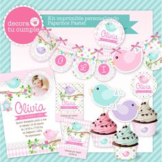 Kit imprimible personalizado Pajaritos pastel  https://www.facebook.com/DecoraTuCumpleanos