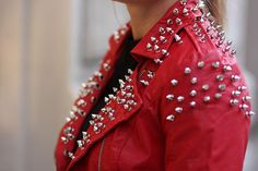 Röd skinnjacka jacka nitar Style by Tyra M på Tradera.com - Damjackor
