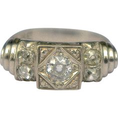 A Vintage Art Deco Diamond and White Gold Ring from vespers-smashing-things on Ruby Lane