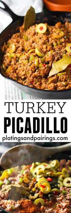 Turkey-Picadillo - An authentic cuban dish made with ground turkey, green olives, capers, raisins and a yummy combination of spices | platingsandpairings.com TasteOrganicTurkey TurkeyTuesday @FosterFarms #AD