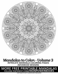 FREE Advanced Mandala Designs to Color | Art Therapy | FREE Mandala Coloring Pages from @ironpowerbooks | This is from the book Mandalas to Color Vol. 3 with 49 more Intricate designs in its paperback copy available at http://www.amazon.com/Mandalas-Color-Intricate-Coloring-Advanced/dp/1495449017  | Please use freely for personal non-commercial use