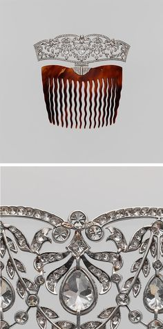 Comb tiara, Tiffany & Co., ca. 1910, Tortoiseshell, platinum, diamonds, 4 1/8 x 4 ¼ in. (10.5 x 10.8 cm)