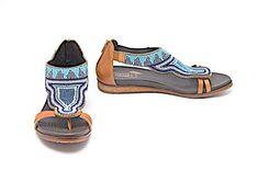 73b11e7a9353 Multi Color Brown Leather Maasai Blue White Bead Thong Rear Zip Sandals