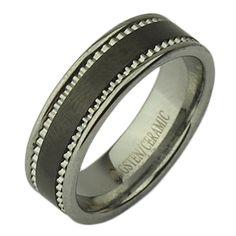 7mm Tungsten & Ceramic Black patterned Ring - Ceramic Rings at Elma UK Jewellery