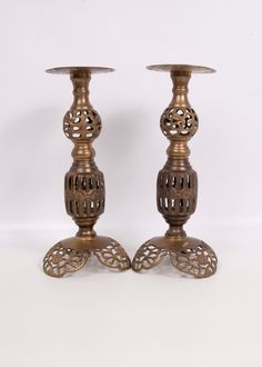 Vintage Brass Candle Holders Pierced Moroccan by LeVintageGalleria  $75.00  Thrift store find $2.98 ~C.N.