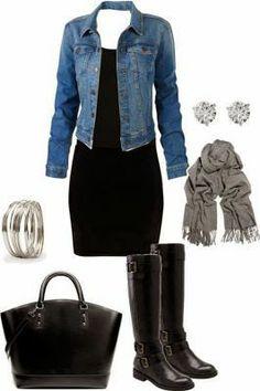 LOVE!!  black dress jean jacket